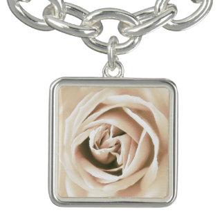 White rose print charm bracelet