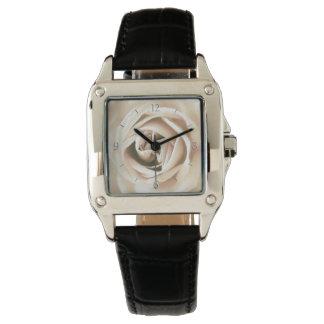 White rose print wrist watches