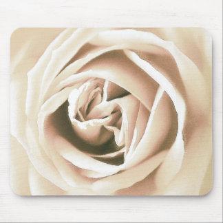 White rose print mouse pad