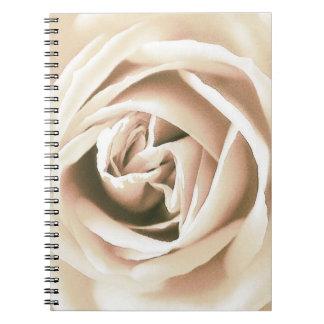 White rose print spiral notebook