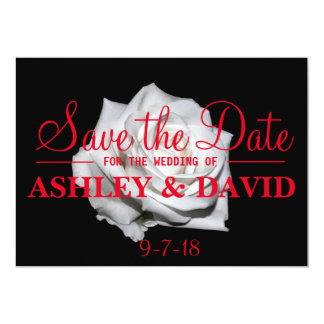 White Rose Red Script Save the Date Card