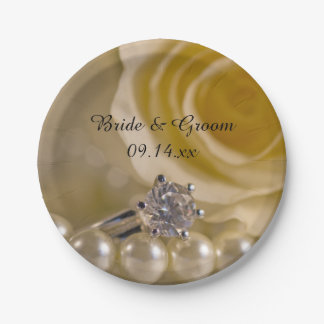 White Rose, Ring and Pearls Wedding Paper Plate