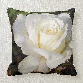 White Rose Romantic Floral Decor Pillow