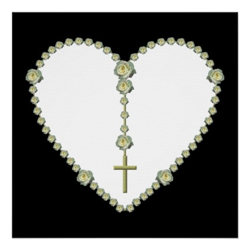 White rose Rosary Posters