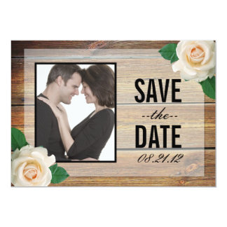 White Rose Save the Date invitation