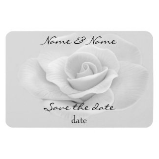 white rose save the date magnet