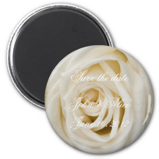 White rose save the date refrigerator magnets