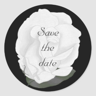 White Rose Save the date Stickers