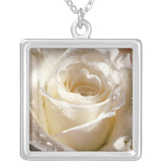 White Rose Silver Plated Necklace