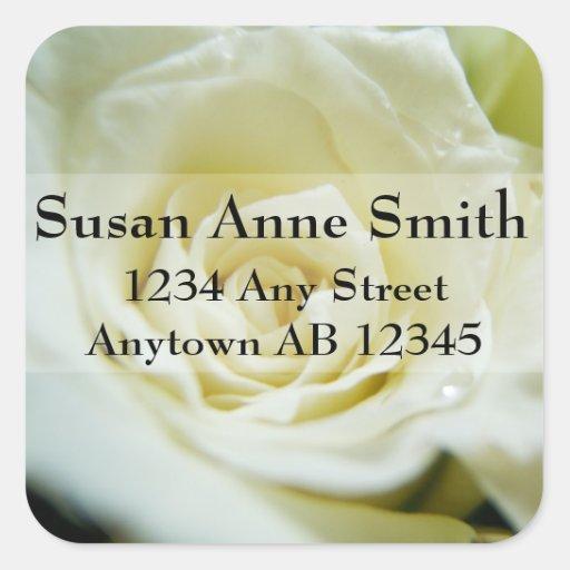 White Rose Wedding Return Address Square Stickers