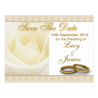 White Rose & Wedding Rings Save The Date Card Postcards