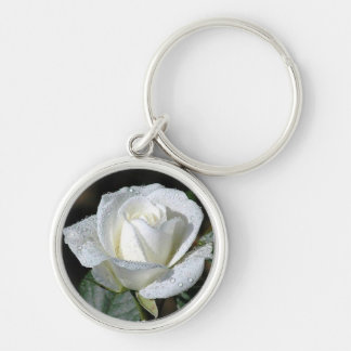 White Rose with Dew Silver-Colored Round Key Ring