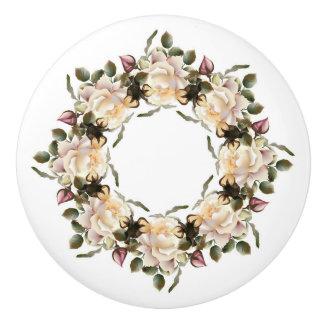 White Rose Wreath Ceramic Knob