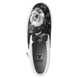 White Rose Zip Shoes Printed Shoes