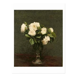 White Roses, 1875 (oil on canvas) Postcard