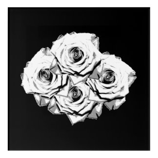 White roses acrylic wall art