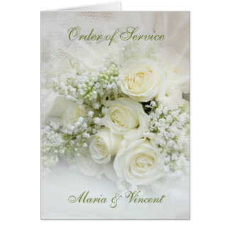 White roses and baby's breath Wedding program Card