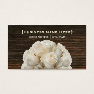 White Roses and Barnwood  Biz Card