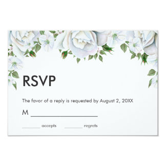 White Roses And Buds Card