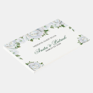 White Roses And Buds On White Background Guest Book