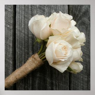 White Roses & Barnwood Poster