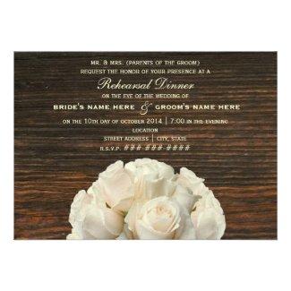 White Roses & Barnwood Rustic Rehearsal Dinner Personalized Invites