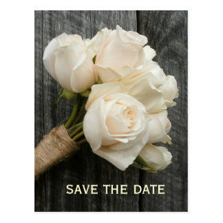 White Roses & Barnwood Save The Date Postcard