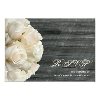 White Roses & Barnwood Wedding 9 Cm X 13 Cm Invitation Card