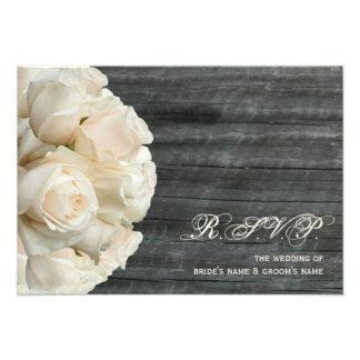 White Roses & Barnwood Wedding Personalized Invitations