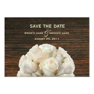 White Roses & Barnwood Wedding Save The Date 3.5x5 Paper Invitation Card