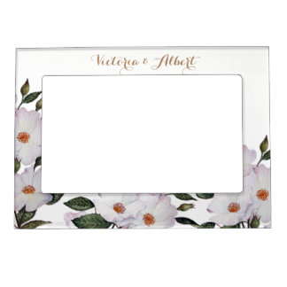 White Roses Botanical Illustration Magnetic Frame