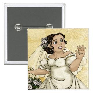 White Roses Bride 15 Cm Square Badge