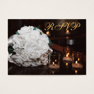 White Roses & Candlelight Gold RSVP Wedding Card