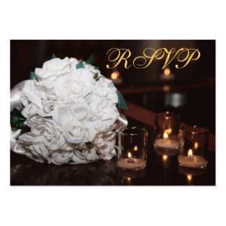 White Roses & Candlelight Gold RSVP Wedding Card Pack Of Chubby Business Cards