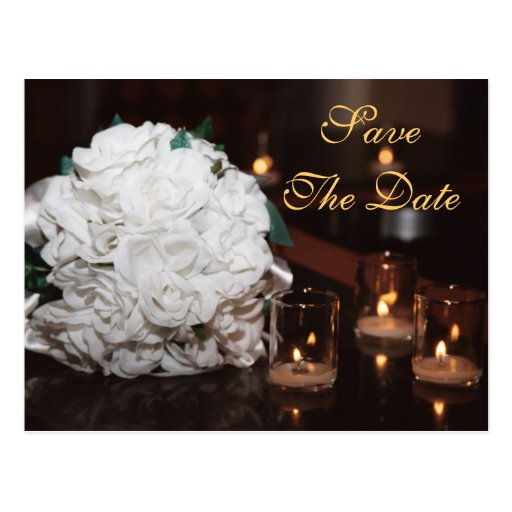 White Roses & Candlelight Save The Date Card Postcard