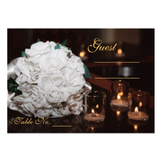 White Roses & Candlelight Wedding Table PlaceCard Business Card
