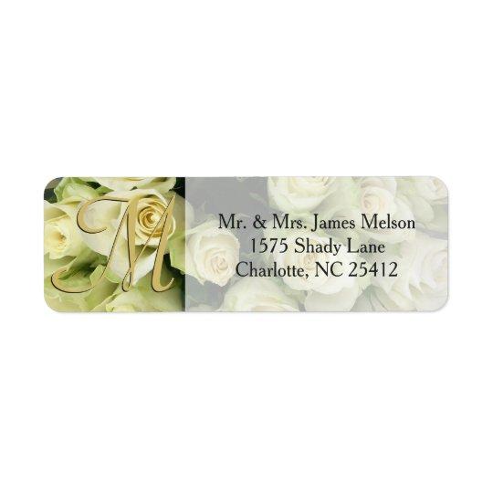 White Roses Champagne Blush Wedding Suite Return Address Label