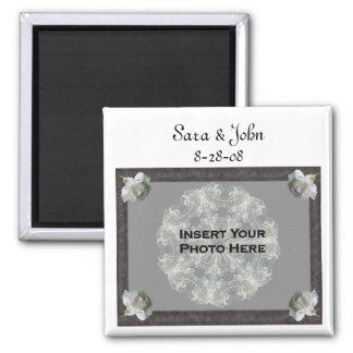 White Roses Elegant Wedding Favour Photo Magnet