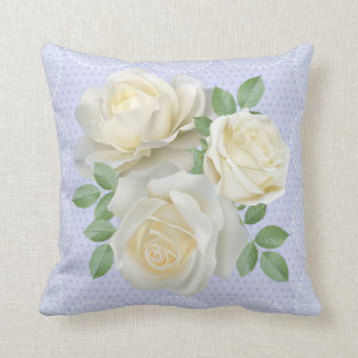White roses floral pillow