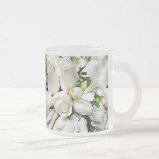 White Roses,for any occasion_ Frosted Glass Mug