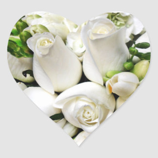White Roses,for any occasion_ Heart Stickers