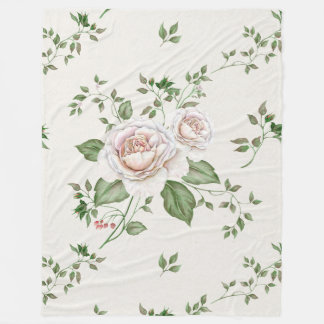 White Roses Green Leafs Fleece Blanket