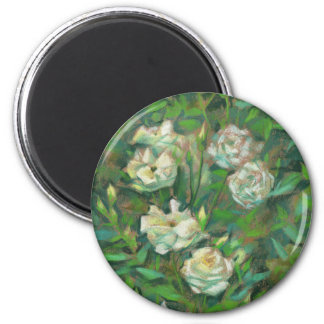 """White roses, green leaves"", beautiful flowers 6 Cm Round Magnet"