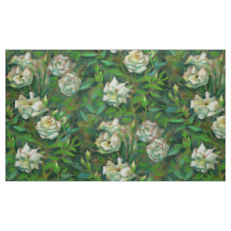 """""""White roses, green leaves"""", beautiful flowers Fabric"""