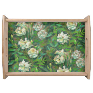 """""""White roses, green leaves"""", beautiful flowers Service Tray"""