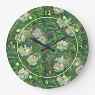 """White roses, green leaves"", beautiful flowers Wallclock"