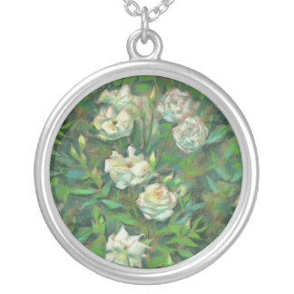 White roses, green leaves, nostalgic floral print silver plated necklace