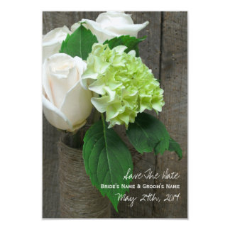 White Roses Hydrangea & Barnwood Save The Date Card