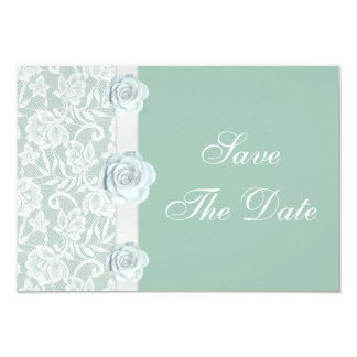White Roses & Lace Mint Green Save the Date Invites