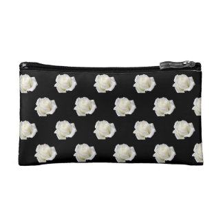 white roses makeup bag